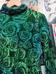 Green & Blue Roses Turtle Neck Top