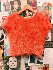 Orange Fluffy Furry Teddy Bear Crop T-Shirt