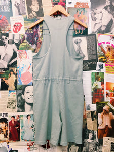 Vintage 1990's Vivianne's Collection Mint Green Button-up Drawstring Racerback Overalls