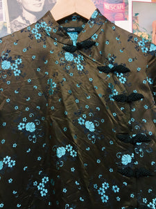 Satin Brocade Blue Floral Roses Top