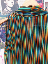 70s Inspired Striped Draped Collar Top