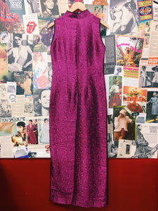 90's Hot Pink Satin Brocade Cheongsam Style Maxi Dress
