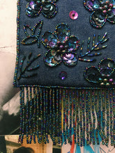 Vintage 1990's Denim Floral Beaded & Sequin Embroidery Mini Handbag w/ Tassels