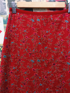 Red Floral Pencil Skirt w/ Velvet Waistband
