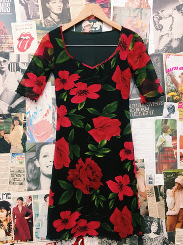 Goth Red Roses Floral Dress