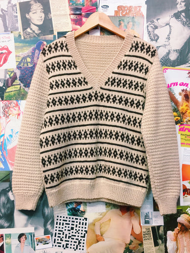 Retro Beige Knitted Jumper