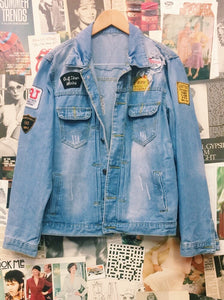 Distressed Denim Patchwork Jacket