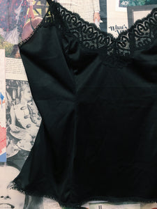 Vintage 1980s Black Lace Satin Cami