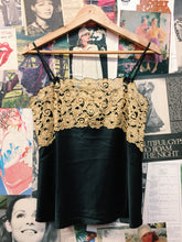 Gold Floral Lace Bib & Bow Black Satin Cami Slip