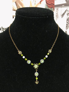Bronze Chain Floral Lime Green Diamonte Charm Drop Necklace