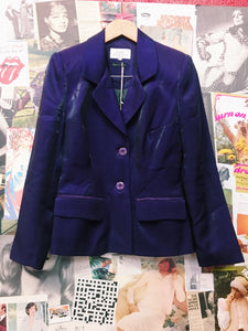 90's Metallic Purple Power Suit Blazer & Skirt Co-Ord