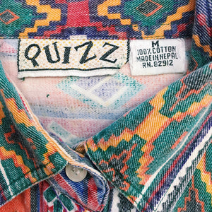 Vintage Quizz Bold & Bright Button Up Top