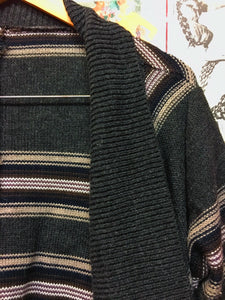 Grey Draped Striped Cardigan