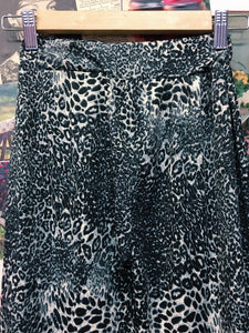 White Snow Leopard Print High Waist Comfy Flare Pants