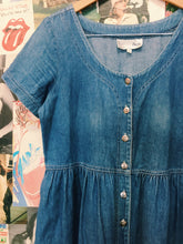 80's Button-up Babydoll Denim Maxi Dress