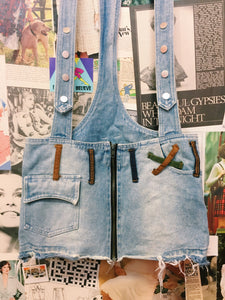 1990s Distressed Denim Pinafore