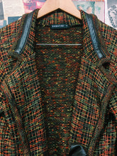 Designer Sabatini Merino Wool & Genuine Leather Check Blazer