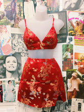 Red Oriental Dragon Brocade Bralette & Skirt Co-Ord