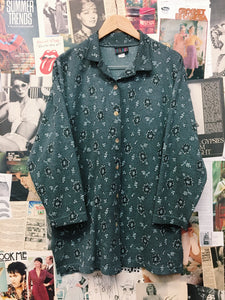 Vintage 1980's Freelance Grunge Grey & Baby Blue Shell Button-up Jacket
