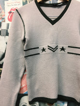 Vintage 1990s HD Wool Blend Stripes, Arrows & Star Knit Cropped Jumper