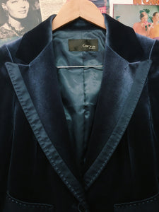 Gorgeous Navy Velvet Tailored Blazer