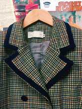 Miss Vanessa Collection Classic Houndstooth Wool Blazer w/ Navy Trim