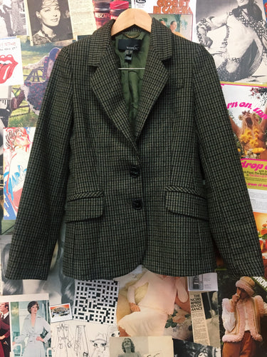 MNG Wool Brown Houndstooth Blazer