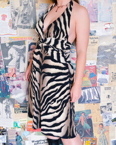 Tiger Print Halter Neck Dress with Cinched Waist Knot Detail