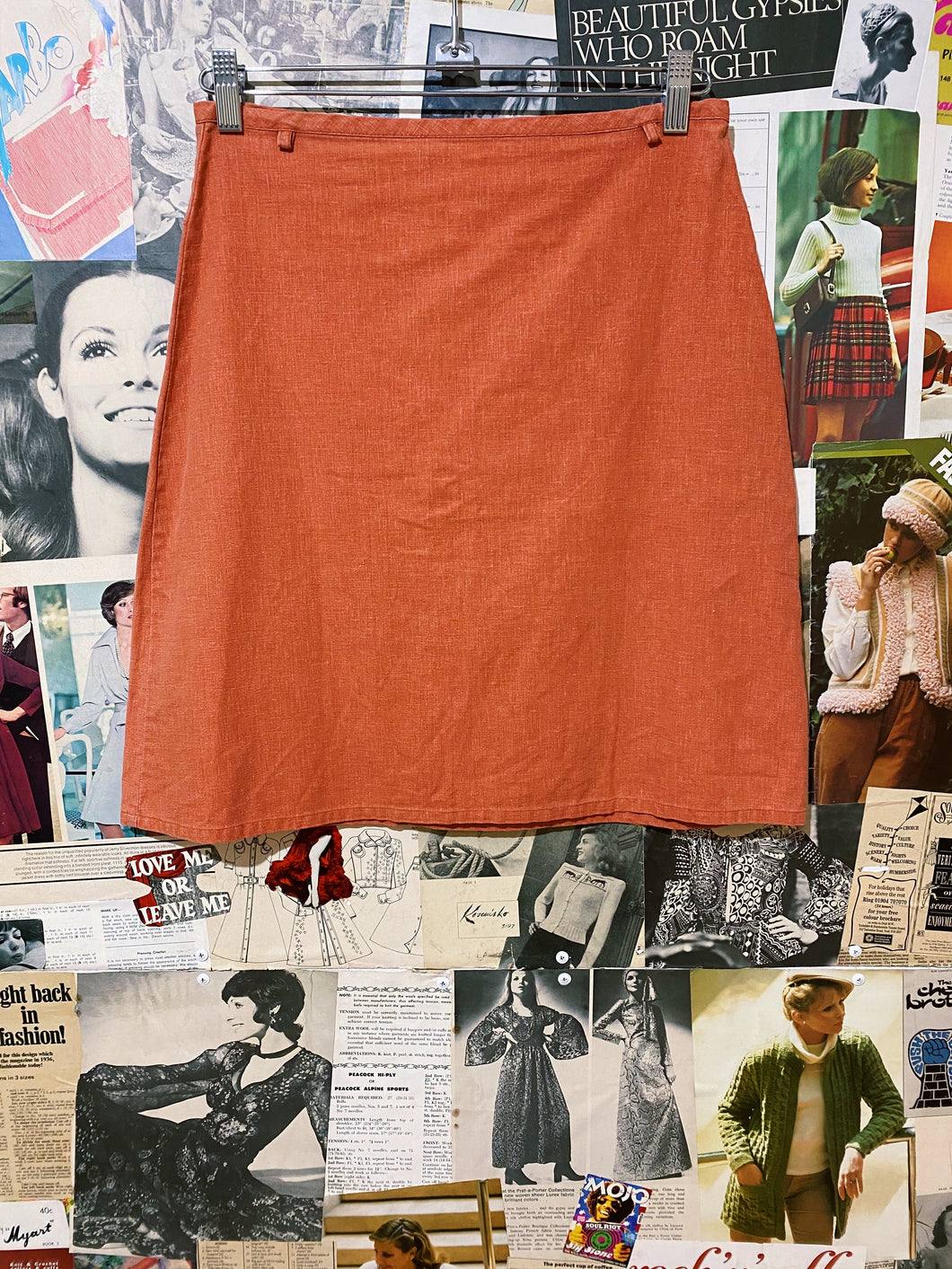 Burnt Orange Hemp A-Line Skirt