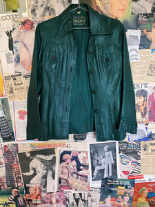 German Leather Motorcycle Jacket in Rare Forest Green