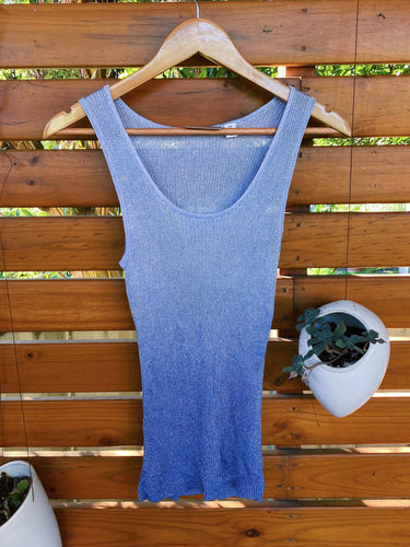 Y2k Classic Club Baby Blue to Periwinkle Blue Two Tone Tank
