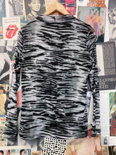 Grey Zebra Animal Print Turtleneck with Sheer Long Sleeves