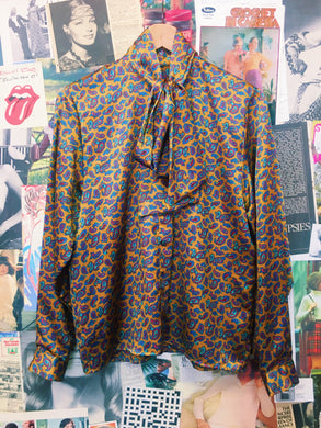Retro 1970s Inspired Silky Mustard Panther Tie Up Collar Blouse w/ Multicolour Paisley Print