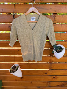Luxury Designer Baum und Pferdgarten Gold Metallic Knit Shirt
