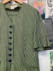 Vintage 1980s Arrival Striped Green & Navy Button-up Top