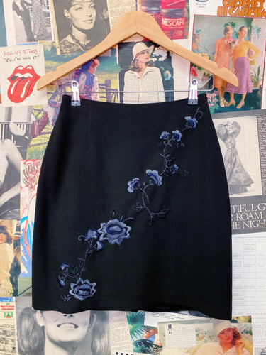 Vintage 1990s Grunge Blue Floral Embroidered Mini Skirt