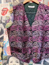 Vintage 1980s Meredith Velvet Velour Pink & Purple Striped Print Vest
