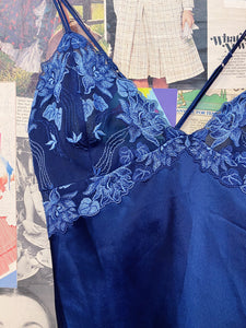 Vintage 1990s Royal Blue Floral Embroidered Cross-back Nightgown