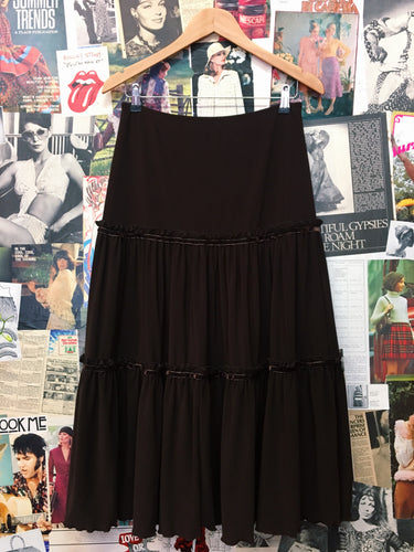 Vintage 1990s HOT! Clothing Co Bohemian Chocolate Prairie Velvet Maxi Skirt