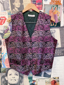 Vintage 1980's Meredith Velvet Velour Pink & Purple Striped Print Vest