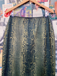 Vintage 1990s Johnny Dexter Olive Green Snakeskin High Waist Skirt