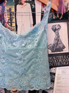 Designer Arianne Mint Aqua Lace Floral & Bow Sheer Crop Top Cami