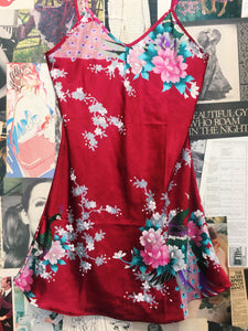 100% Silk Red Floral Peacock Slip
