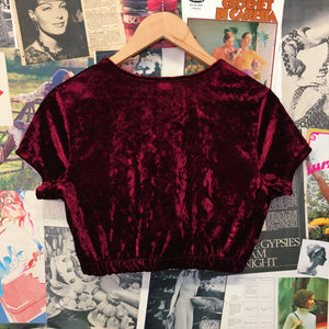 Vintage 1990s Fashion Magazine Red Wine Velvet Crop Top