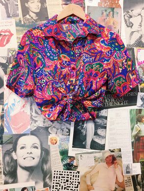 Retro Bright Neon Multi-colour Paisley & Floral Collared Blouse
