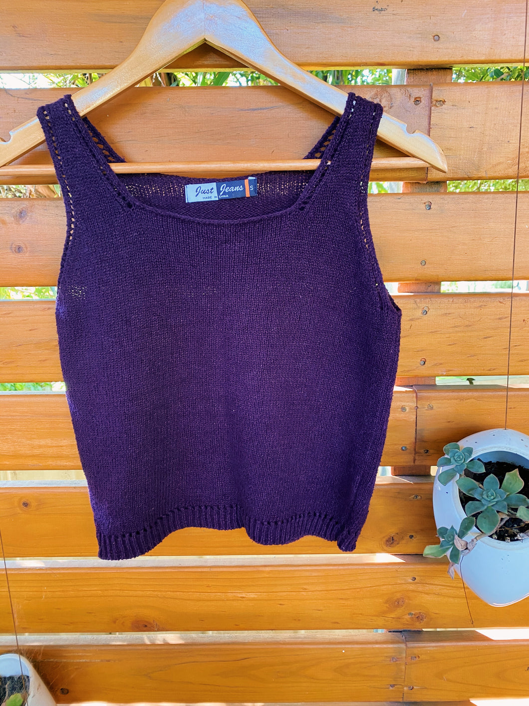 Vintage 1990s Just Jeans Plum Knit Crop Top