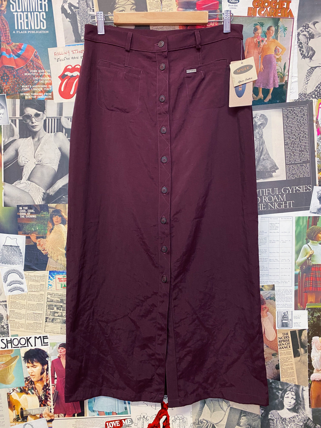 Vintage 1980s/1990s McGee BNWT Wine Plum Button-up Maxi Skirt