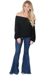 Black Off The Shoulder Knit Top