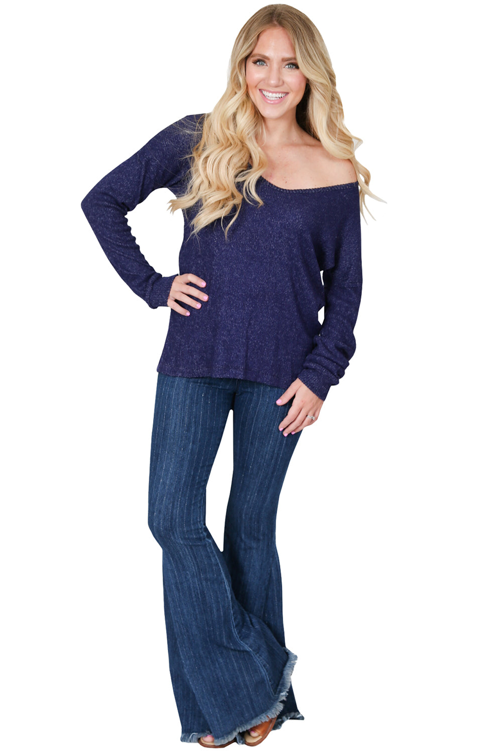 Navy Sweater Knit Slouchy V Neck