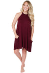 Merlot Cold Shoulder Dress